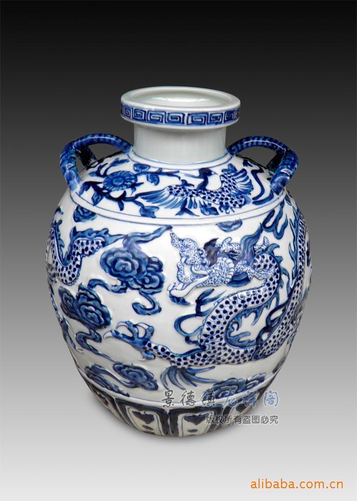景德镇瓷器 奢华摆设 雕刻仿古青花瓶 扁瓶