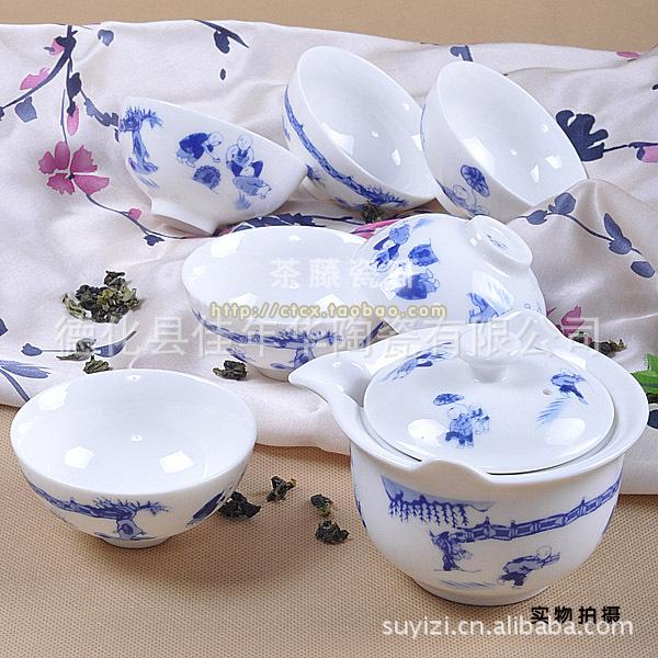7头一休普洱茶具/陶瓷茶具/礼品茶具/花类/手绘/功夫茶具/套装