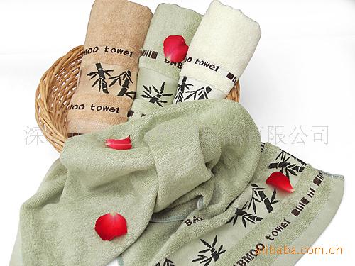 供应缎档绣花竹纤维毛巾 超强吸水天然抗菌 竹影清风美容毛巾