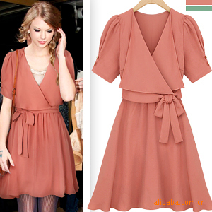 три кнопки в один ряд поло стандарт платье желтый шифон платье обработки Европы, США, Японии, издание женской одежды