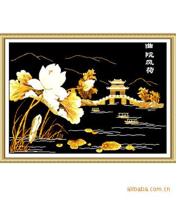 艺工艺品 十字刺绣套件厂家批发代理加盟线画图纸中格 花卉草 花和