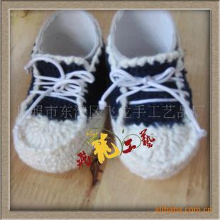 供应手钩童鞋,宝宝鞋。钩编婴儿系带学步鞋X-40