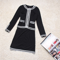 Женский костюм с юбкой Spring and autumn elegant professional set knitted cotton twinset outerwear one-piece dress