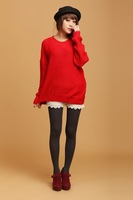 Free shipping Korean style 2012 women's autumn and winter loose batwing type long-sleeve pullover sweater red F size
