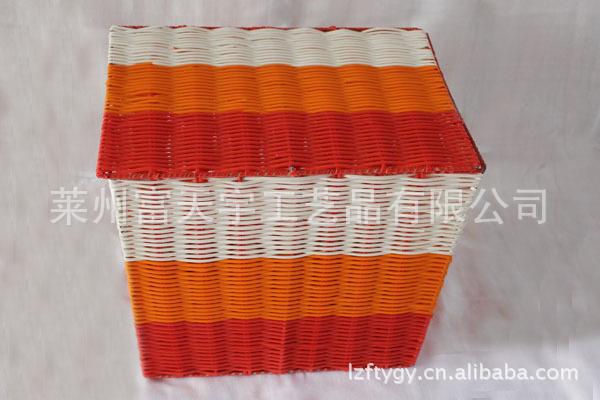 长期批发供应多彩条纹PVC塑编铁架带盖收纳箱