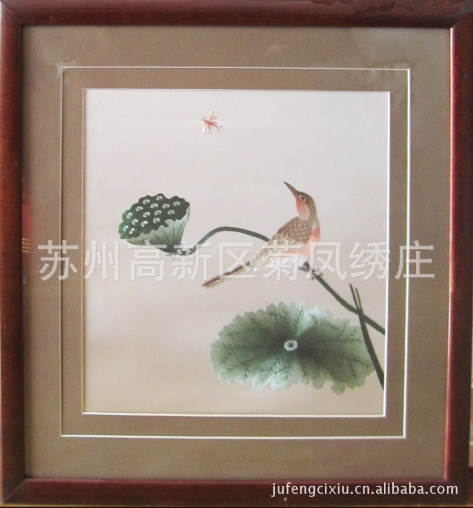 酒店挂画 古韵花鸟刺绣画图片,苏州特色 苏绣 公司礼品 居家挂画