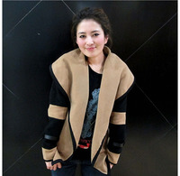 A073 2013 fashion woolen color block decoration trench outerwear woolen overcoat