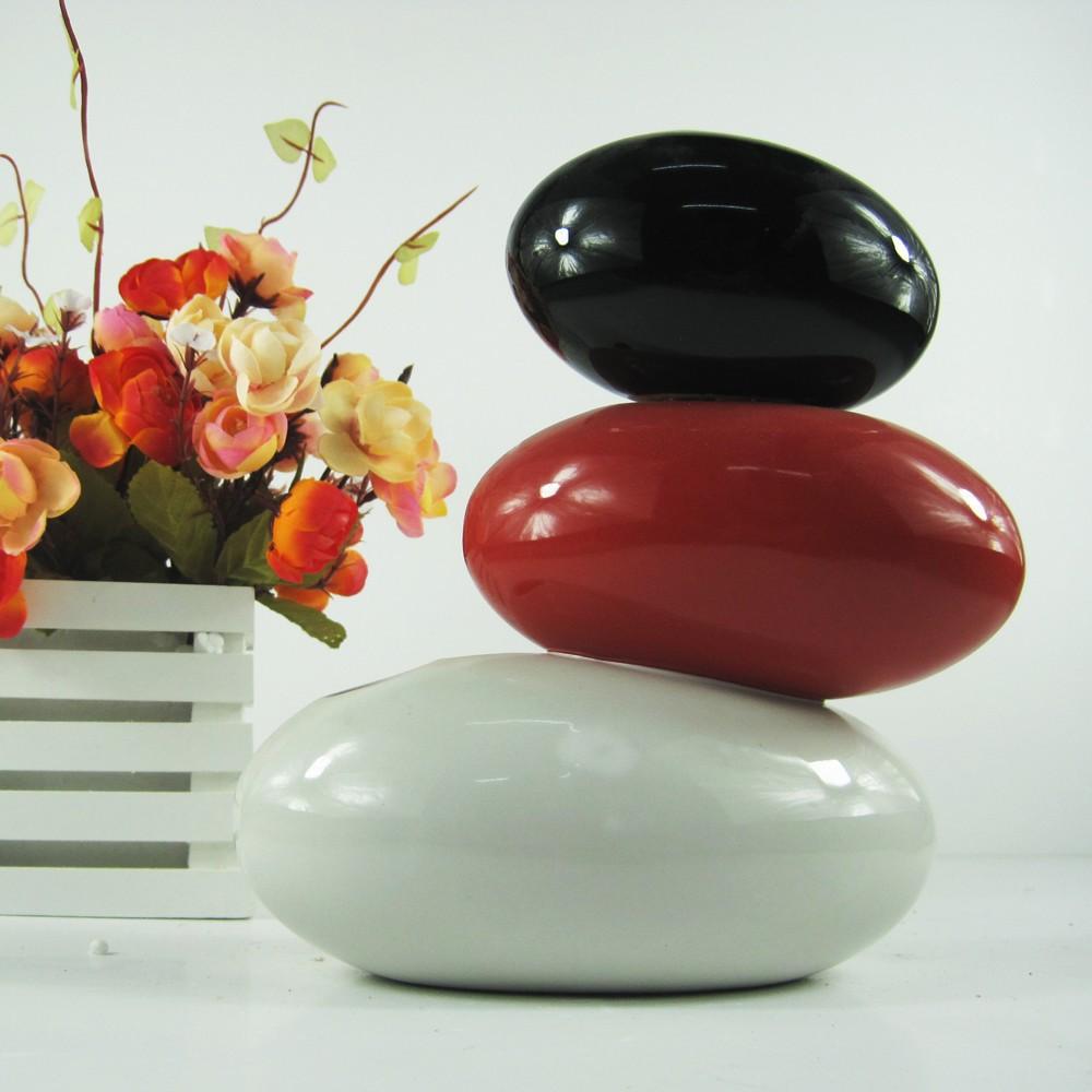 801供应艺术花瓶工艺品陶瓷月亮船黑红