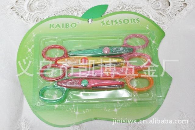 O品牌高档晶粉不锈钢花边剪刀KB6008苹果套4件套图片,厂家供应图片