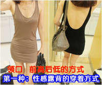 Женское платье Women's fashion dress sexy basic positive and negative two ways racerback spaghetti strap vest one-piece dress slim hip skirt