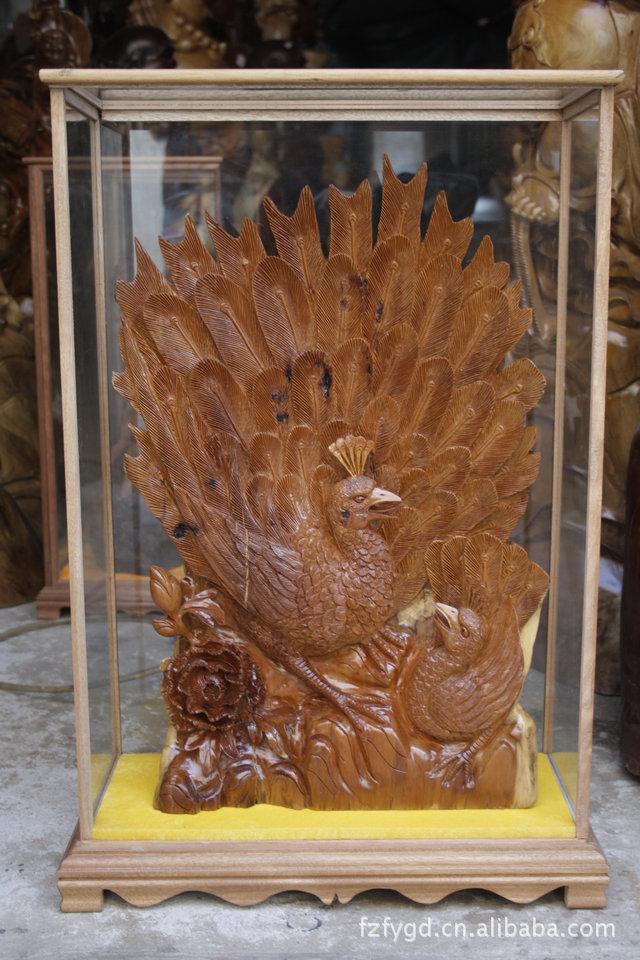 根雕工艺品红豆杉孔雀开屏风水家居创意古玩摆件1284