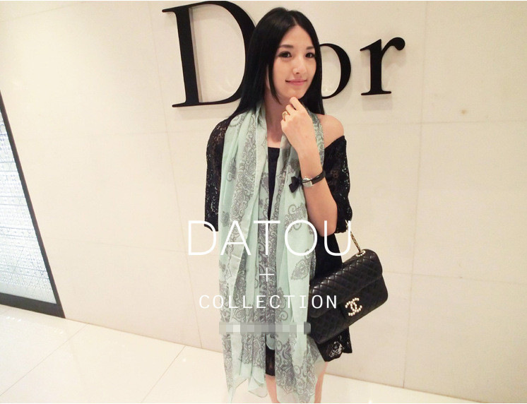 Rectangle 2014 winter chiffon silk scarf autumn and winter blue and white porcelain female scarf