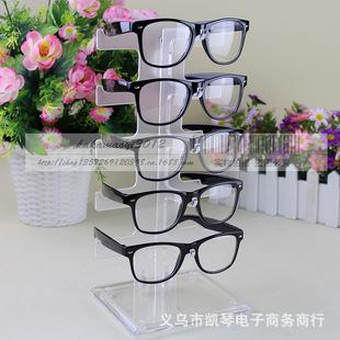 单排5付墨镜太阳镜眼镜架子 塑料眼镜展示架 展示货架