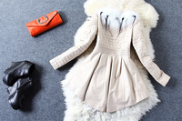 Fashion autumn and winter women quality all-match loose sheepskin genuine leather clothing thick outerwear overcoat