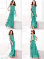 Женское платье New Women Summer Empire Waist Casual Dress European Trade Bohemian beach Plus Size Long Chiffon Dress