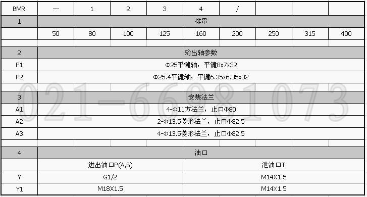 BMR-160液压马达选型说明.