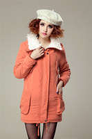 Женские пуховики, Куртки 2013 womensmedium-long cotton-padded jacket female fashion slim winter wadded jacket outerwear