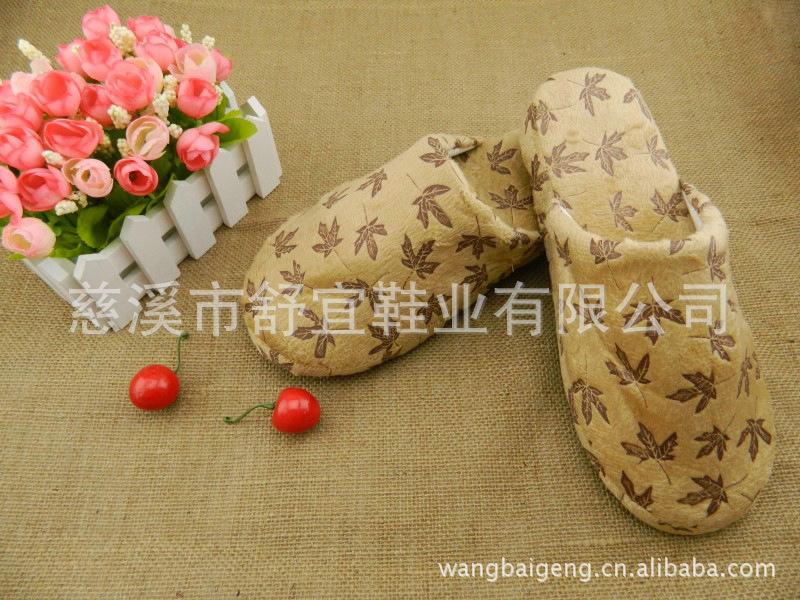 厂家特供 男女居家鞋棉鞋地板鞋 可爱枫叶棉拖鞋图片