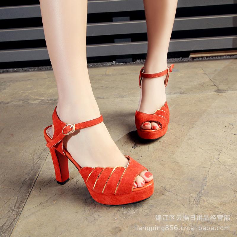 粗跟超高跟低帮一字式扣带脚腕绊带罗马风格女鞋凉鞋 -价格,厂