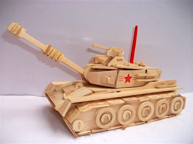 拼图 拼板 四联木制立体拼图主战坦克3d拼图儿童拼图木制拼图立体拼