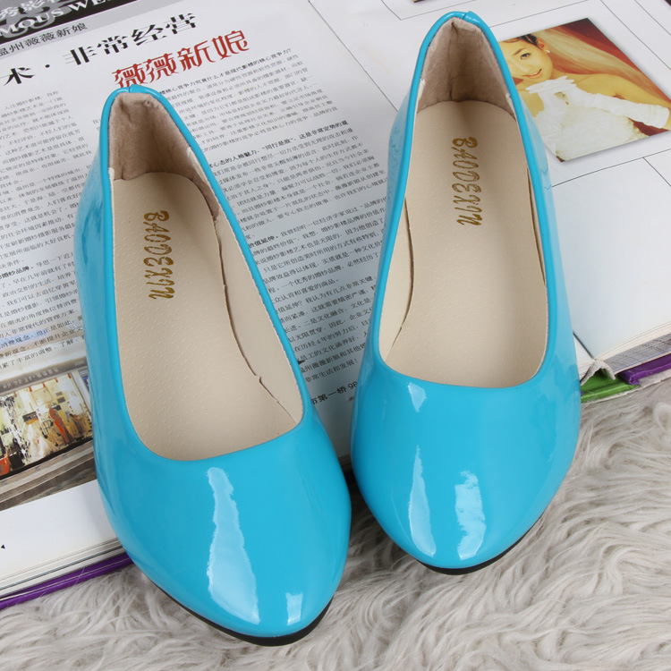 Women's Summer Ballet Flat Casual Patent Leather Shoes ...
