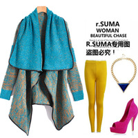 2013 Autumn Winter Women Fashion Ladies Leather Colorant Match Trench Knitted Cardigan Female Large Big Size Bohemia