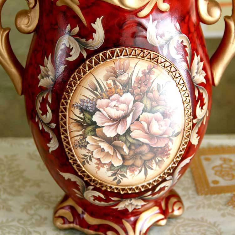 欧式复古 工艺品 家居装饰摆件 古典陶瓷彩绘花瓶 花器 彩绘