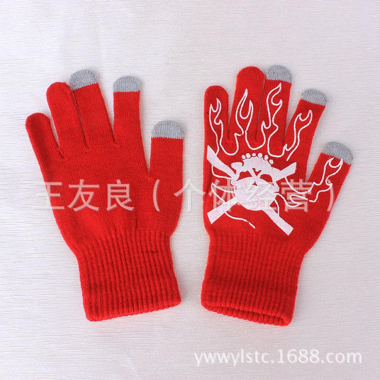 手套 保暖多色毛线针织魔术手套 五指/分指手套