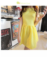 Женское платье spring plus size clothing high waist tank dress ol small fresh basic sleeveless one-piece dress