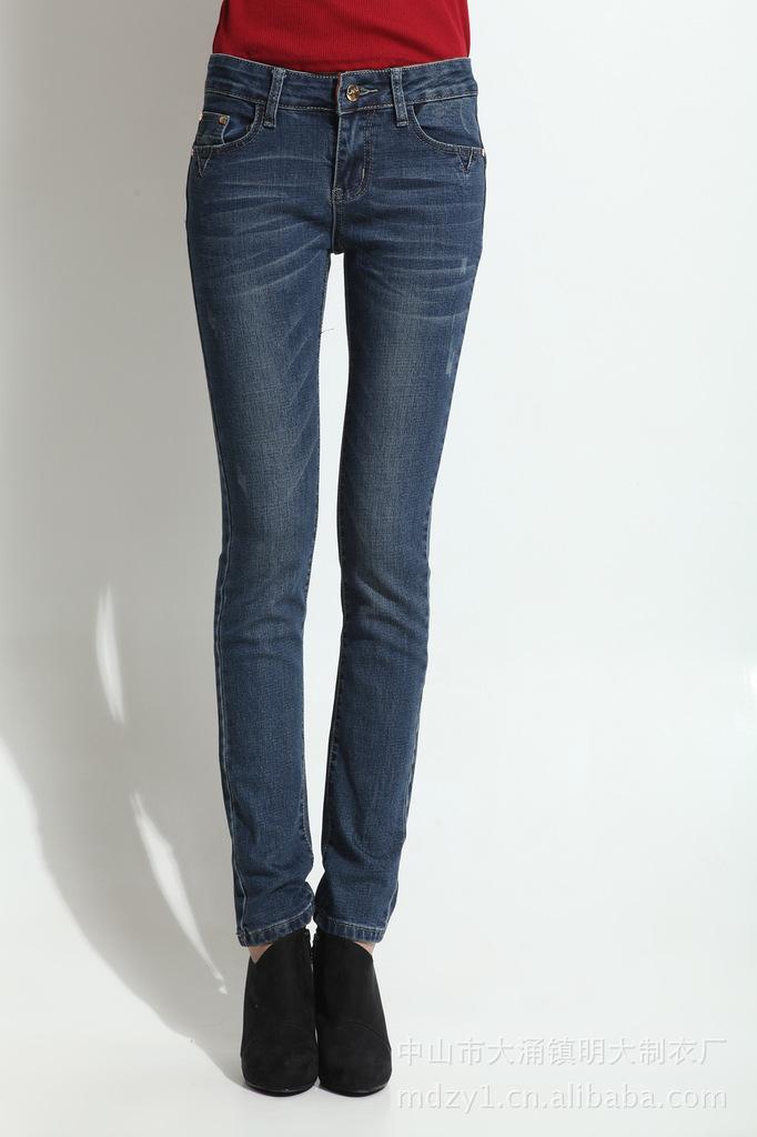 供应豹纹修身女式牛仔裤 欧版女款弹力牛仔裤