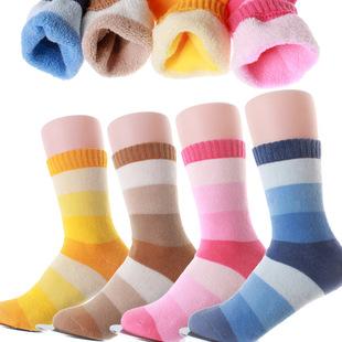 爆款秋冬童袜 条纹纯棉男童女童加厚毛圈毛巾袜 冬季保暖儿童袜子