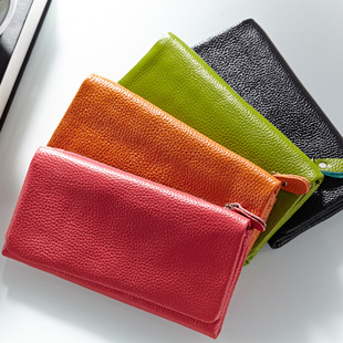 牛皮钱包 女士长款搭扣韩版可爱真皮女式时尚银行卡包 正品特价