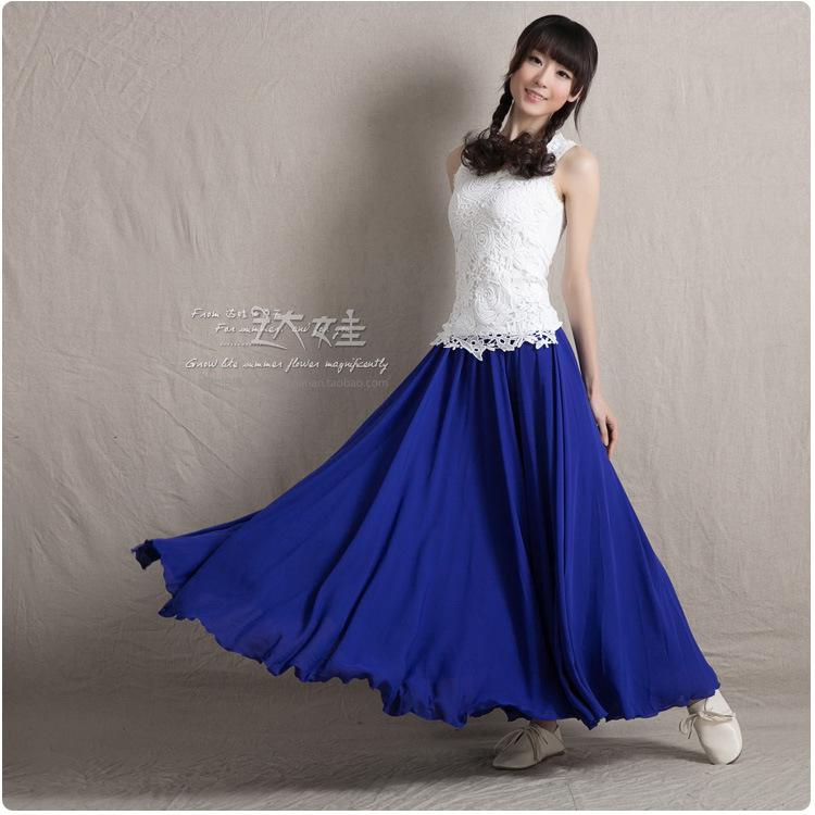 2014夏装新款达娃纯色文艺风雪纺仙裙显瘦波西米亚女神长裙