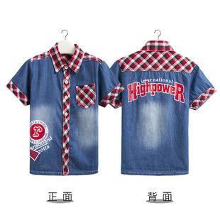 法国KK兔夏季新品男童短袖牛仔衬衫中小童短袖衬衣SL1384