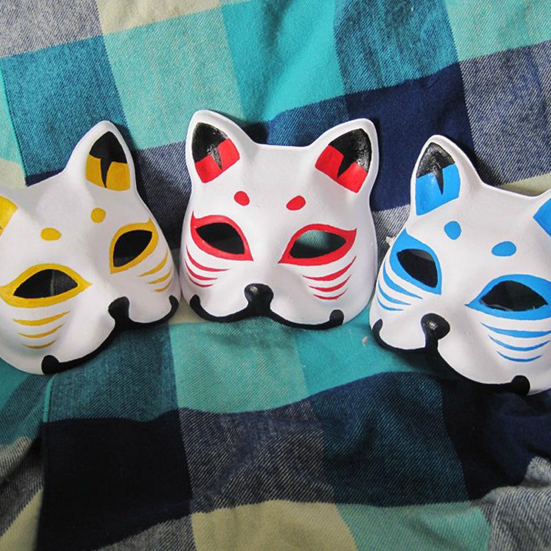 批发采购面具 漫展热卖 纯手工绘画各种狐狸面具萤火之森面具银面具 图片