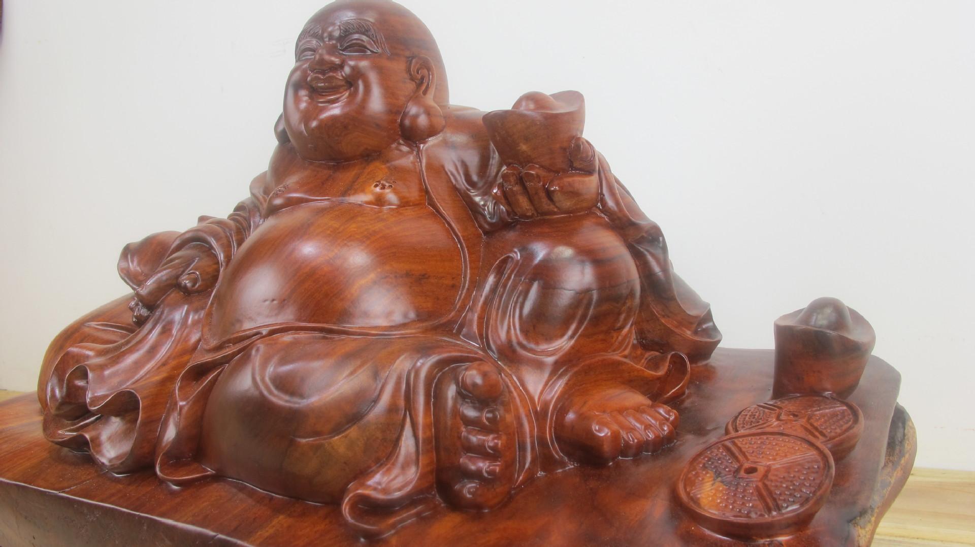 弥勒佛 实木根雕摆件 家居根雕工艺品 -价格,厂家,图片,木质 竹
