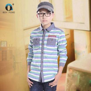 春秋款男童装青少年纯棉衬衣条纹衬衫清仓特价11岁12长袖男孩儿童