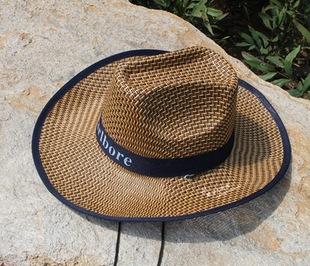 厂家直销  新款大檐草帽西部牛仔帽三根草太阳帽 订制Logo