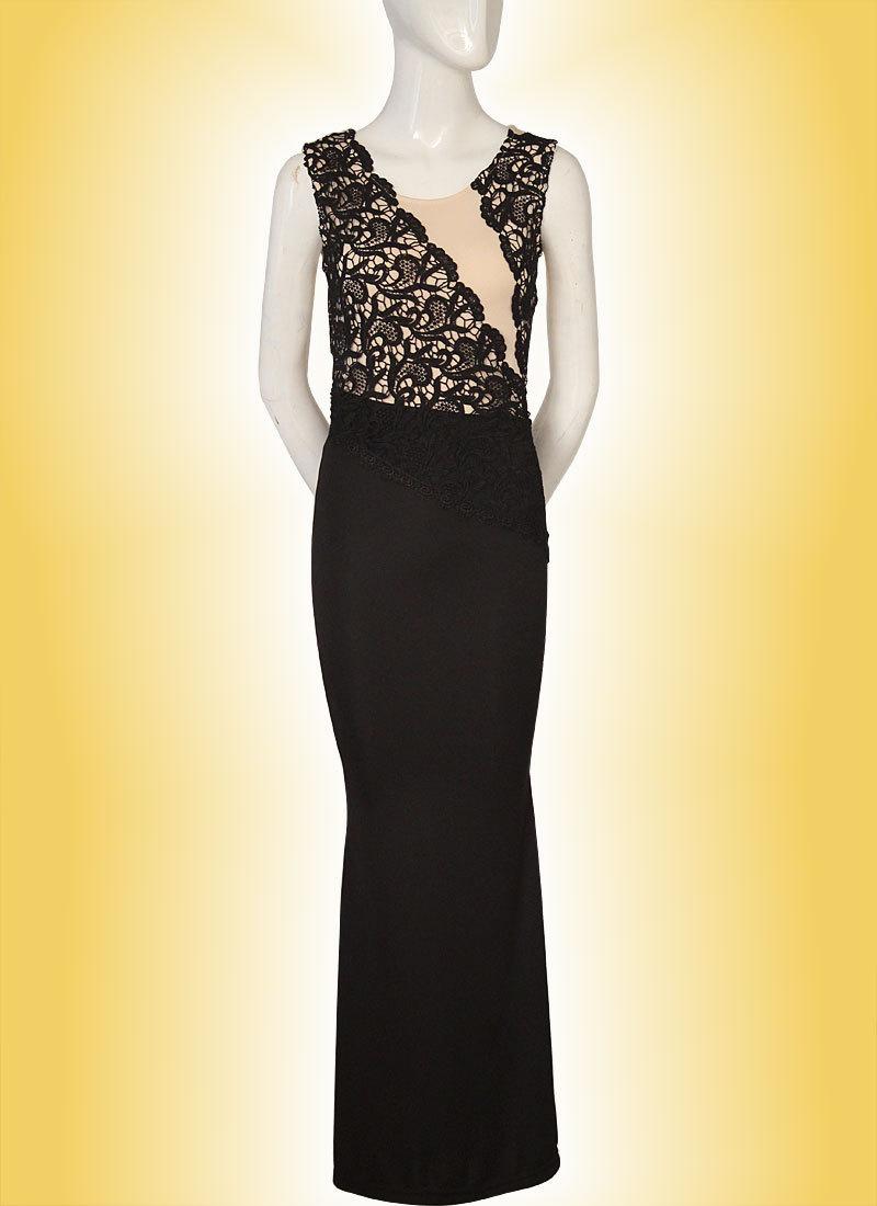 ebay热卖晚礼服 2015欧美新款黑色蕾丝拼接无袖背心长裙 女
