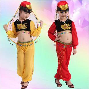 厂家直销 六一儿童演出服批发 少儿女童印度舞新疆疆舞台表演服装