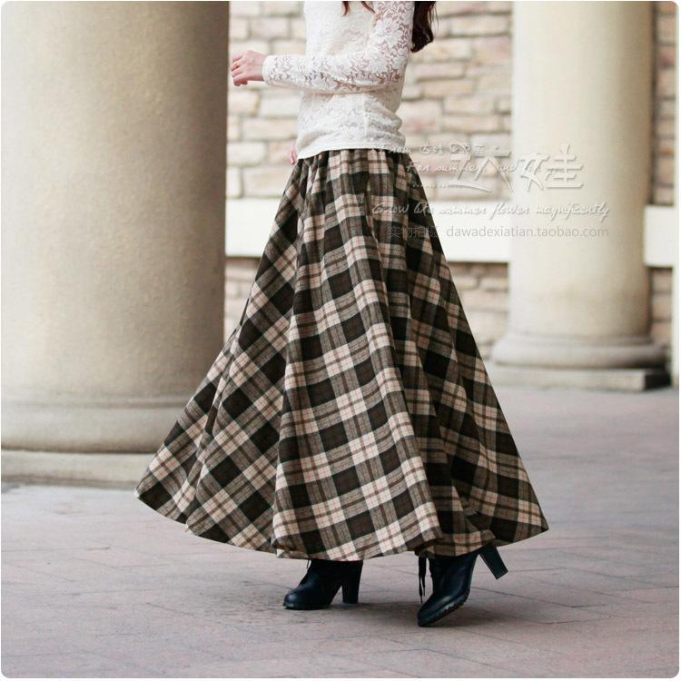 2015春季新款女裙 个性百搭半身裙 米粽色格子伞裙 女装毛呢长裙
