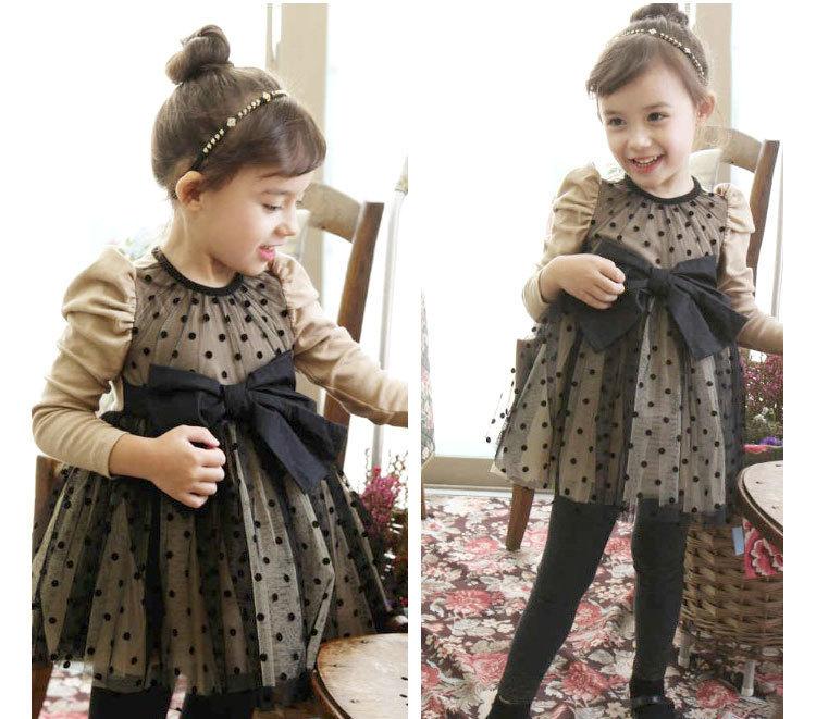 一件代发,韩国春秋洋装女童裙纯棉波点淑女风连衣裙,网纱公主裙