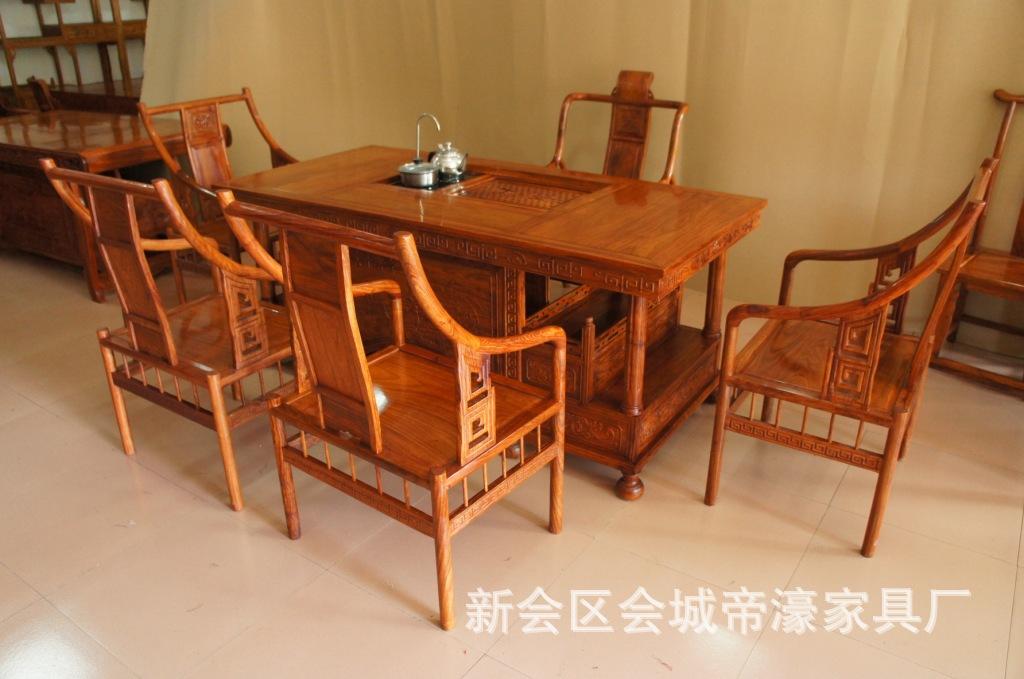 帝濠厂家直销 实木6件套牡丹 泡茶桌椅 非洲黄花梨茶几茶