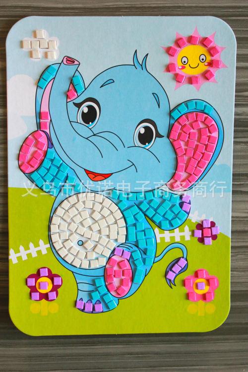 小班粘贴画 卡纸-款卡通3D立体贴画 新款KT马赛克贴纸 幼儿园手工教具 立体贴