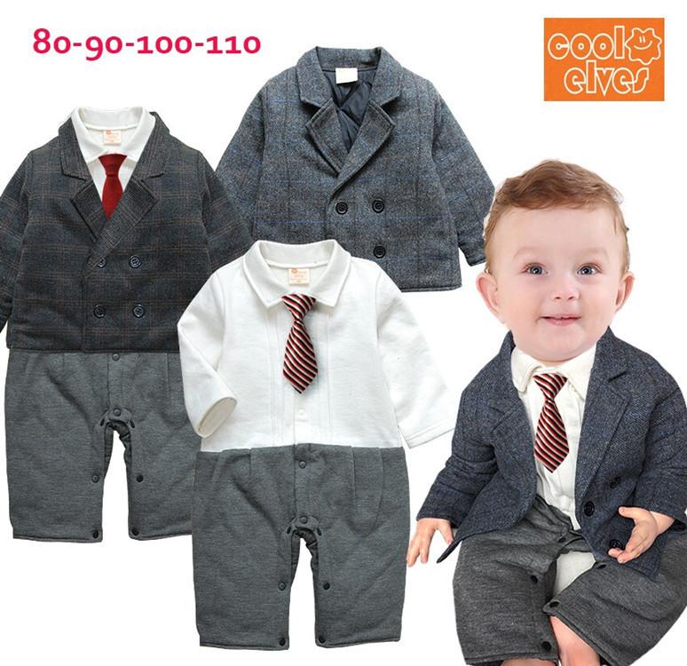 2014冬季新款 男童绅士造型加厚棉哈衣2件套 宝宝绅士哈衣