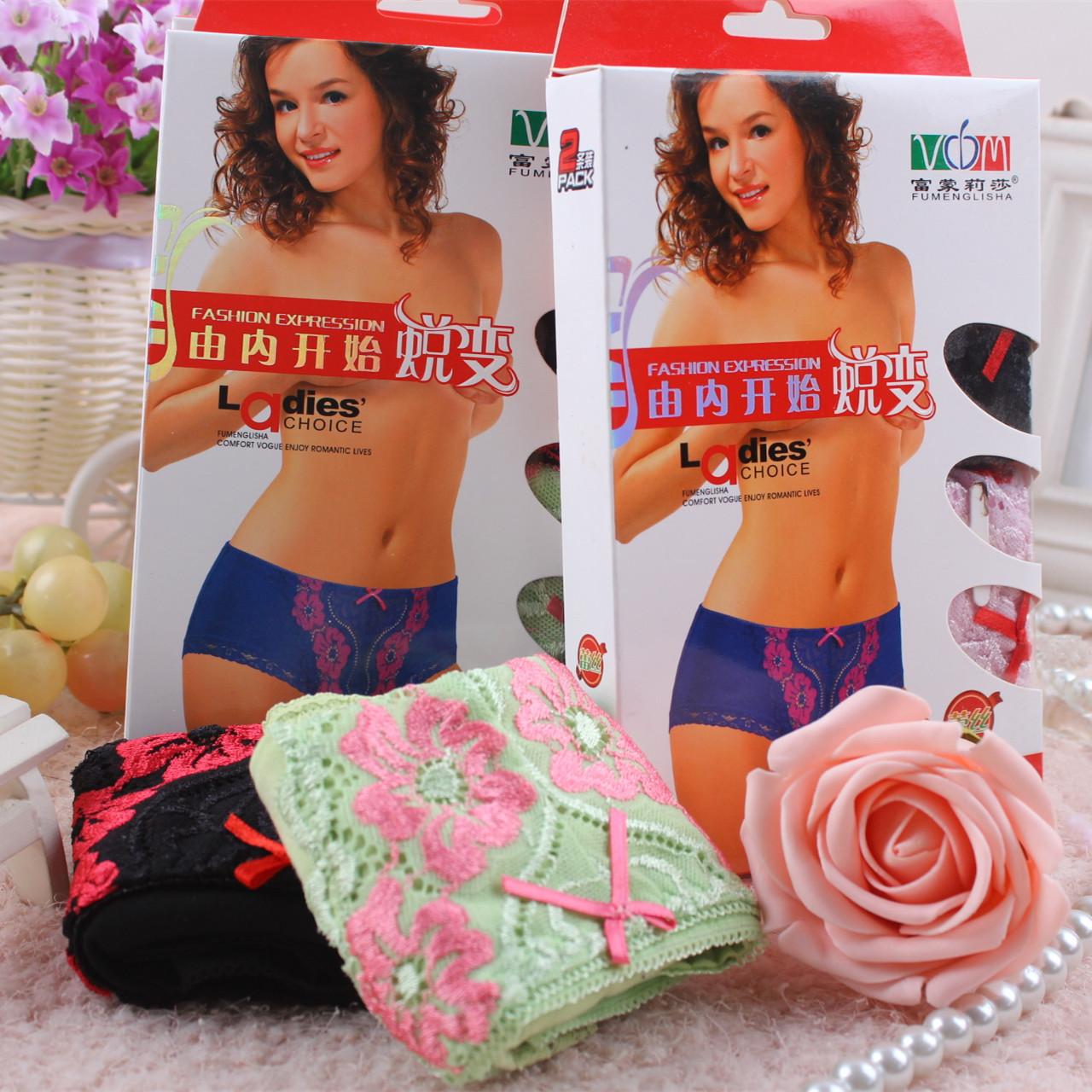 新款 富蒙莉莎女士内裤 性感蕾丝女士内裤舒适透气 2条盒装3052
