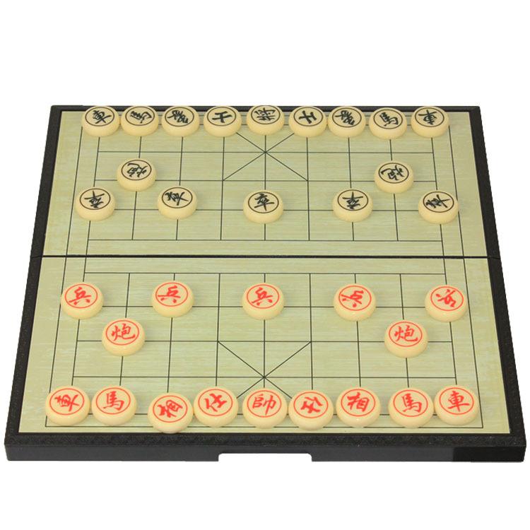 中号塑胶折叠磁性中国象棋 米黄色棋子 直径25mm