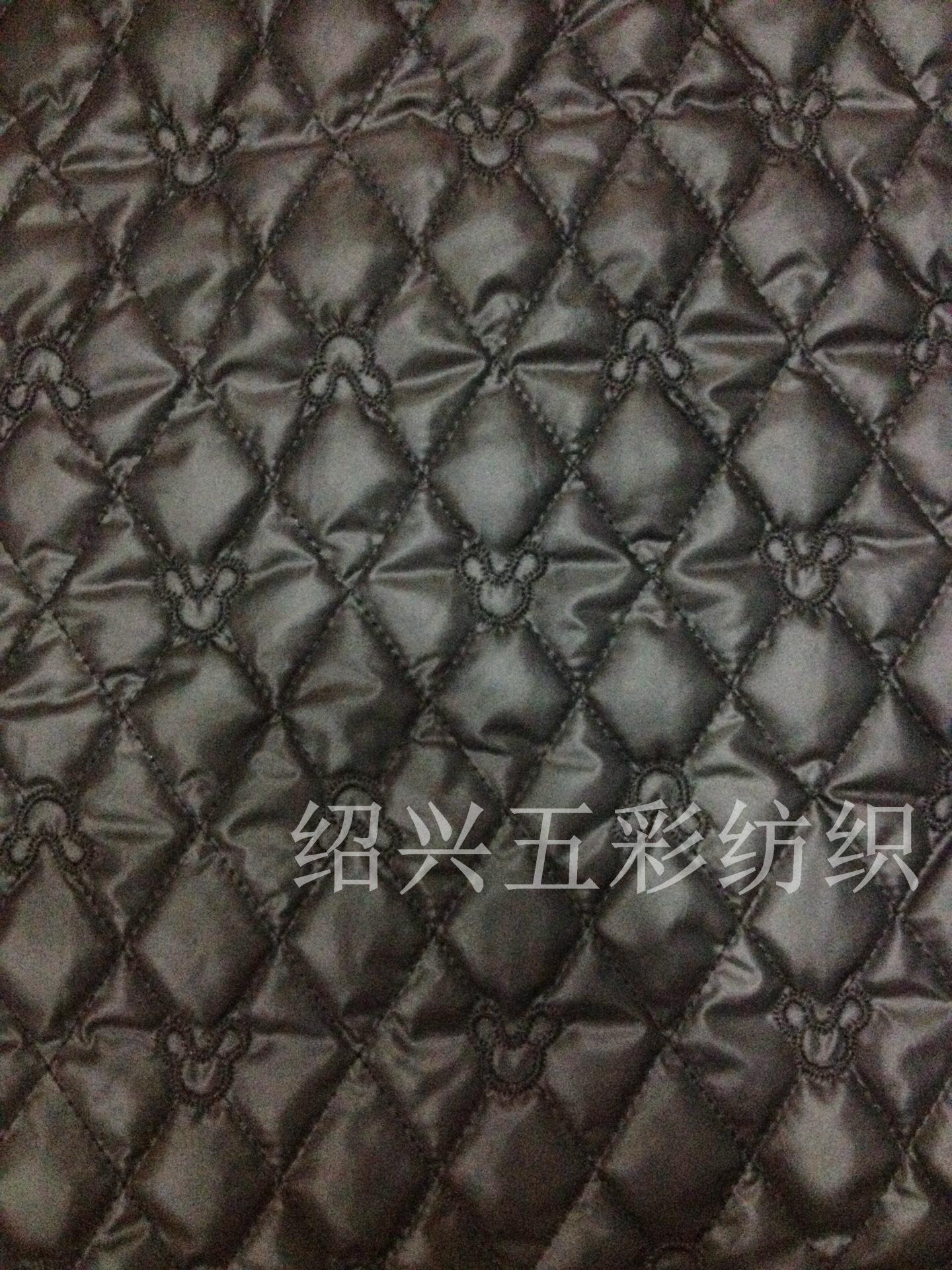 厂家小批订做 绗绣绗缝加工 米老鼠菱形 夹喷胶棉服装面料