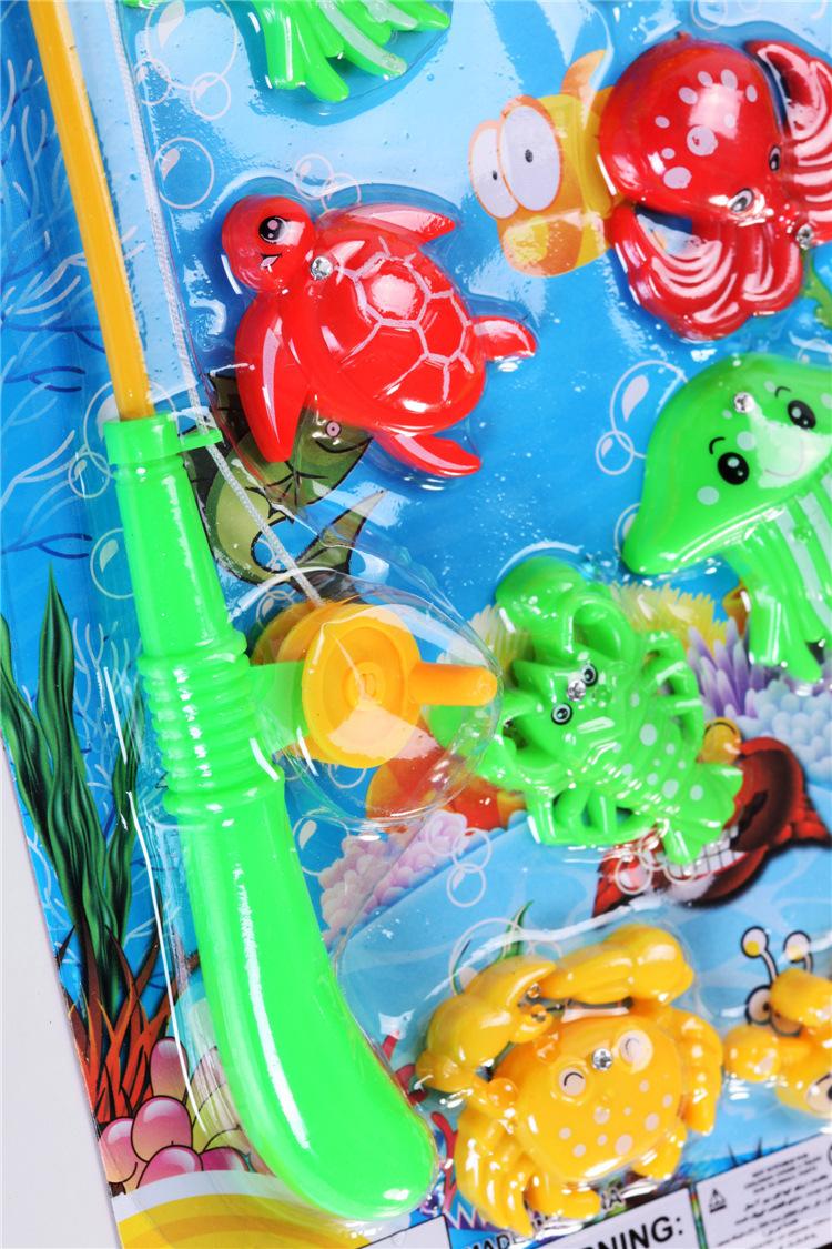 单杆12只鱼装儿童简易磁性钓鱼玩具套装儿童钓鱼玩具