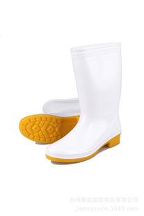 女式中筒食品靴白色牛筋底卫生鞋双色外贸耐磨耐酸碱油PVC雨鞋